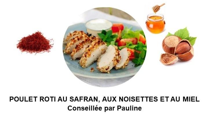 Poulet rôti au safran, aux noisettes et au miel (4 personnes)