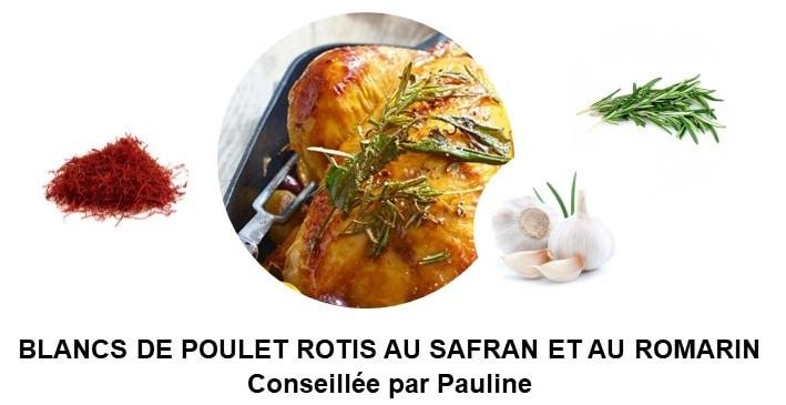 Blancs de poulet rôtis au safran et au romarin